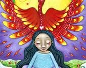 Phoenix totem wall art Firebird Girl art print animal guides art children's room phoenix spiritual art gift for friend whimsical phoenix art