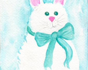 Rabbit painting, Teal Bunny Rabbit Watercolors Paintings Original , 5 x 7 Nursery wall art, blue wall art, rabbit decor, blue rabbit art