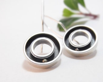 Round and Round Sterling Silver Earrings, Round Earrings, Handmade Kinetic Earrings, Kinetic Jewelry, Dangle Earrings, Silver and Brass