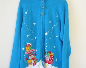 Vintage Blue and White with Jingle Bell Zipper Ugly Christmas Sweater