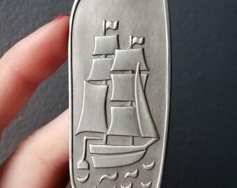 Vintage Denmark Jorgen Jensen Large Pewter Sailing Ship, Moon and Ocean Necklace