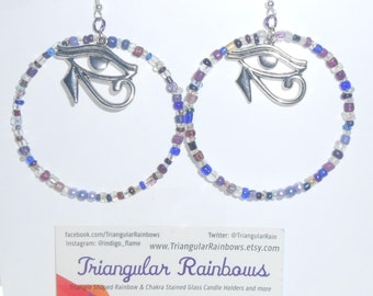 Purple Glass Bead Hoop Earrings with Antique Silver Eye of Horus Charm Third Eye Egyptian themed