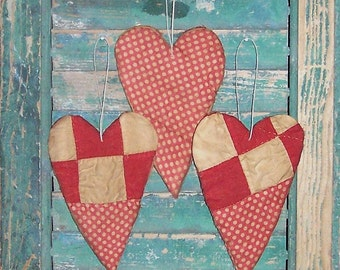 3 Rustic Heart Ornaments, Farmhouse Decor Primitive Hearts Antique Quilt Tattered Hearts, Whimsical Red White Polkadots - READY TO SHIP