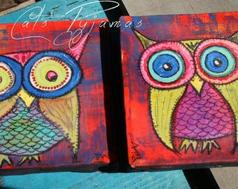 Owl Paintings Set of 2 Neon bright colors funky & Fabulous OOAK Wall Art