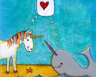 unicorn + narwhal = love - limited edition print