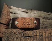 "B1542  SALE ""Healing Hands"" Badge Leather Cuff"