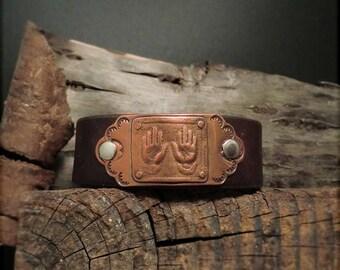 "B1542  ""Healer Hands"" Healing Badge Leather Cuff"