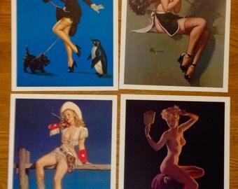 "FOUR Elvgren prints, 8"" X 10"", on heavy photo paper"