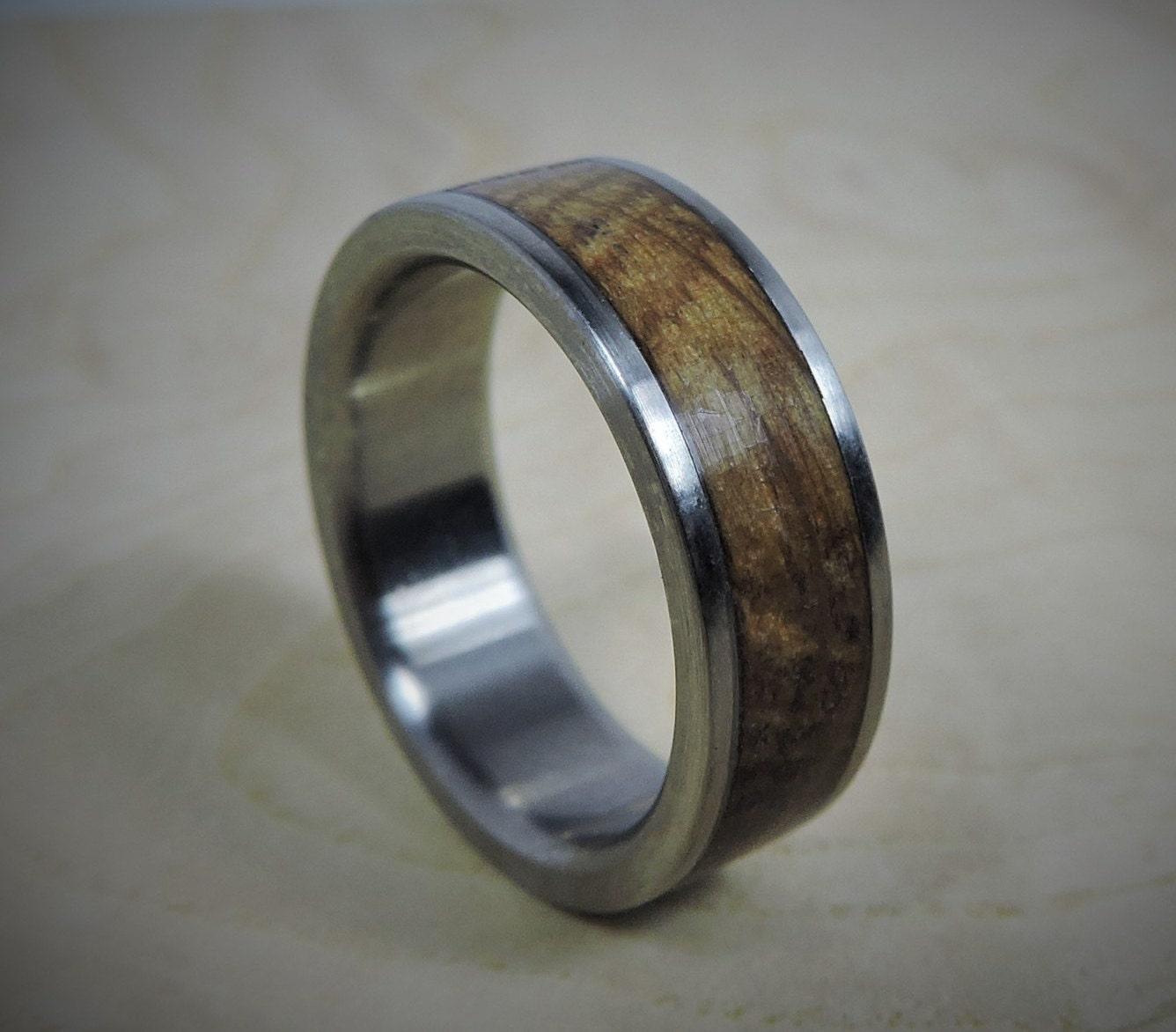 titanium ring wood ring custom made ring wedding ring charred oak whiskey - Wedding Rings Mens