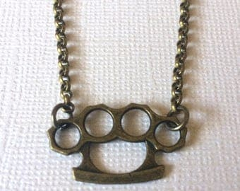 Brass Knuckles Necklace on Bronze Rolo Chain - Mens Jewelry