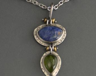 Sodalite Gemstone Pendant, Vesuvianite stone, sterling silver necklace, statement jewelry, mixed metal