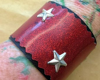 Sale!! Cool red sparkle vinyl cuff with star studs