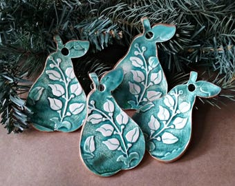 SALE 4 Ceramic Pear Christmas Ornaments Holiday Decor Green edged in gold