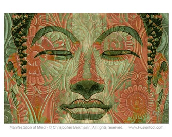 Green and Orange Buddha Art Canvas - Manifestation of Mind - Zen Giclee Print - by Buddha Artist Christopher Beikmann