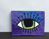 Green Evil Eye On Purple ...