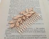 Rose Gold Leaf Hair Comb.Rose Gold Branch Hair Comb.Rose Gold headpiece.Leaf fascinator.Rose Gold Leaf hair accessory.wedding hair piece