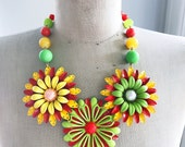 Vintage Enamel Flower Statement Necklace - Sunflower