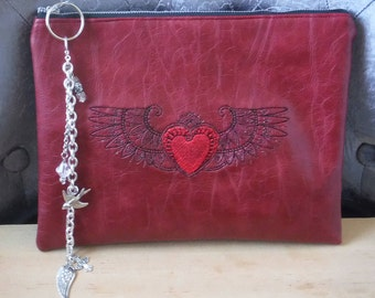 Winged Heart Embroidered Zippered Pouch, Faux Leather Bag, Cosmetic Toiletry Storage, Black Red Tribal Heart, Graduation, Mothers Day Gift