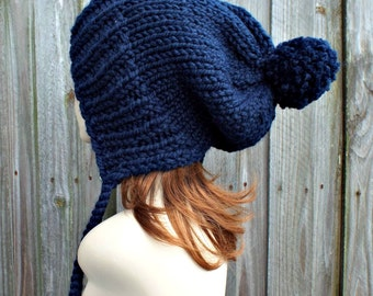 Navy Blue Slouchy Hat Knit Ear Flap Beanie with Pom Pom - Charlotte
