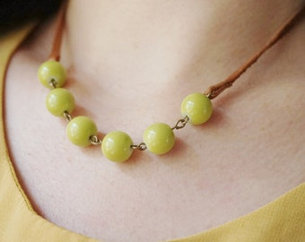 Fall Necklace  Leather Necklace Leather Jewelry Chartreuse Necklace Beaded Necklace Women Gift Boho Necklace Strand Necklace Gift For Her