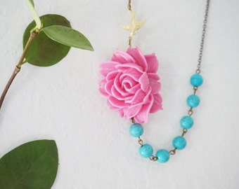 Statement Necklace Flower Necklace Fuchsia Necklace Turquoise Necklace Turquoise Jewelry Christmas Gift Women Gift Women Jewelry Gift Set