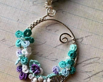 Wire wrapped argentium silver pendant with tatting mixed media jewelry aqua purple