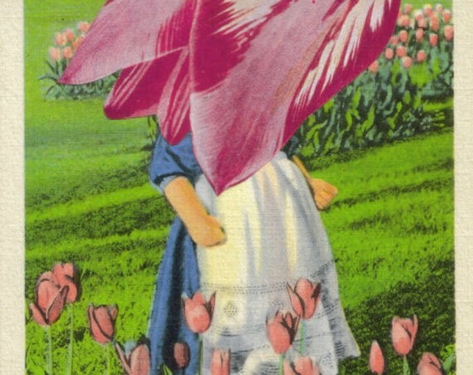 Green and Pink Tulip Artwork, Holland Michigan Postcard, Recycled Art Collage, Unique Flower Gift, Garden Cottage Decoration