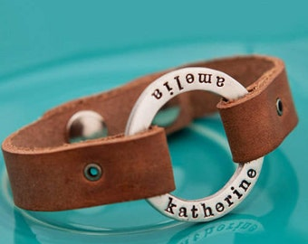 silver chunky circle of love leather bracelet