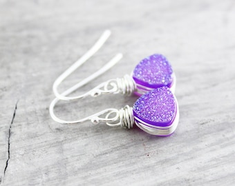Purple Druzy Earrings, Violet Dangle Earrings, Sterling Earrings, Geometric Triangle Earrings, Silver Drop Earrings, Druzy Silver Earrings