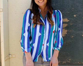 Stripe Print, Teal, Blue, White, Red, Women's Shirt