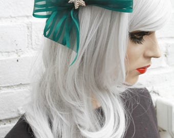 Green Ribbon Starfish Mermaid Hair Clip Bow