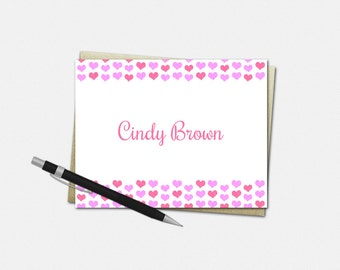 Personalized Hearts Note Cards - Set of 10 - Folded Note Cards - Valentine's Day Note Cards - Love Note Cards - Hearts Stationery