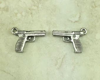 Hand Gun Charm > Law Enforcement Deputy Sheriff Trooper Patrol Pistol - American Made Lead Free Pewter Silver - I ship Internationally