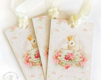 Rabbit in a teacup gift tags for Easter, birthdays and gift wrap, a set of 3