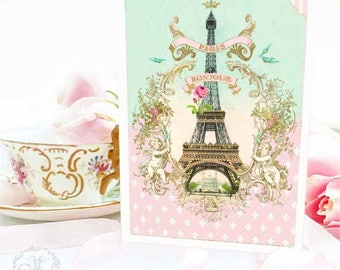 Eiffel Tower card, Bonjour from Paris, French vintage style, travel card, just because, hello, blank inside all occasion card