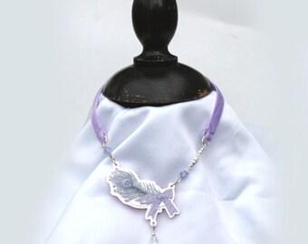 Pastel JEWEL FEATHER Ribbon Choker Necklace