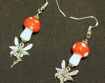 Fairy & Toadstool Earrings - Fly Agaric - with Sterling Silver Earwires - Pagan, Fantasy, Fey, lampworked beads