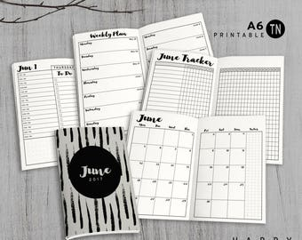 Printable A6 Insert - A6 Traveler's Notebook Insert - June - Daily Weekly Monthly Traveler's Notebook Insert - Basic
