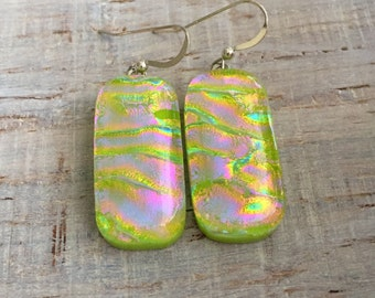 Green and Pink Wavy Pattern Dichroic Fused Glass Dangle Earrings Sterling Silver Ear Wires FREE shipping