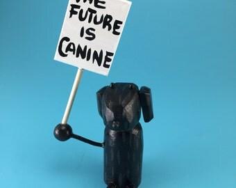 dog sculpture   black lab figure   labrador retriever   womens march   custom dog   custom pet sculpture   future is feminine   feminist art
