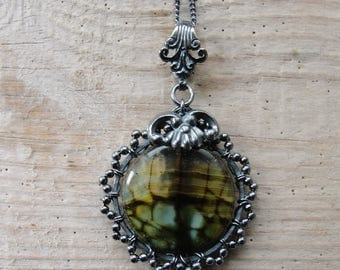Sterling Silver Agate Necklace Hand wrapped Sterling Silver jewelry Green Moss Agate Necklace Small pendant with Italian chain