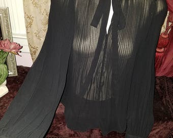 Vintage Black Sheer High Collar Blouse Tie Neck, Accordian Pleats, S/M