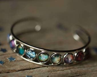 Nebula Rainbow Bangle Cuff Bracelet - Silver Outer Space Jewelry, Galaxy Bracelet by Yugen Tribe - Astronomy, Astrology, Stellar, Colorful