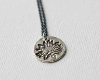 Sterling Silver Lotus Pendant Necklace, Rustic Floral Jewelry, Lotus Jewellery, Oxidized Sterling Silver Chain, Gift for Women, Yoga Jewelry
