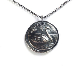 Graceful Swan and Rose Wax Seal Sterling Silver Necklace - Made to Order