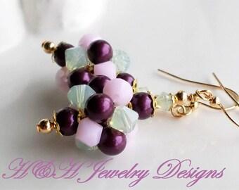 Pearl Earrings, Pink Berry Green Easter Earrings, Pearl Crystal Cluster Earrings, Swarovski Crystal Earrings, Wedding Jewelry, Pink Earrings