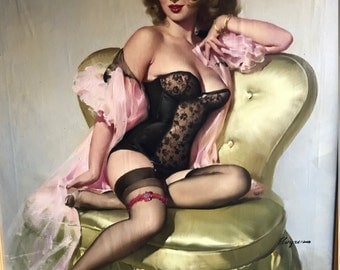 SALE Will Close 7 days! Original 53 ELVGREN LOLA Sitting Pretty PinUp Lingerie Stockings Corset Painting Rare Famous Pin-Up 1st Time Offered