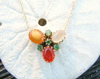Antique Fire Opal, Jelly Opal, Moonstone & Green Garnet Pendant Necklace, Beautiful Colors, approx 2.59 ctw, Unusual Design in Gold