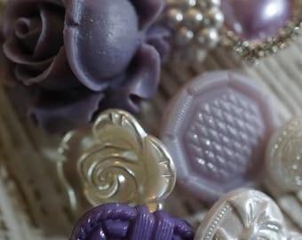 Purple Rose Button Set