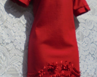 Red wool dress shift mini 60s style ribbon work embroidery holiday    small  from vintage opulence on Etsy